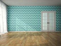Inre av tomt rum med blått tapetserar och tolkningen för dörr 3D Royaltyfri Bild