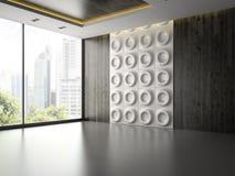 Inre av tomt rum med väggpanelen 3D som framför 2 Arkivbilder