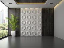 Inre av tomt rum med väggpanelen och gömma i handflatan 3D som framför 3 Arkivbild