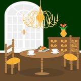 Inre av vardagsrum i klassisk tappningstil royaltyfri illustrationer