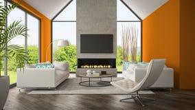 Inre av vardagsrum med den orange väggen och spisen 3D framför Arkivfoton