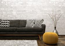 Inre av vardagsrum med den soffa- och för puff 3d tolkningen Royaltyfri Bild