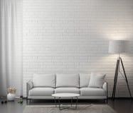 Inre av vardagsrum med den vita tegelstenväggen, tolkning 3D royaltyfri fotografi