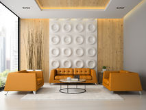 Inre av vardagsrum med orange fåtöljer och soffan 3D framför Royaltyfri Fotografi