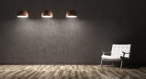 Inre av vardagsrum med reclinerstol och tre lampor vektor illustrationer