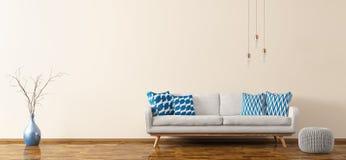 Inre av vardagsrum med soffan och tolkningen 3d Arkivfoton