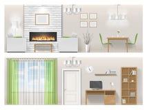 Inre av vardagsrum med spisen, möblemang vektor illustrationer