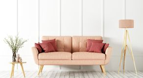 Inre av vardagsrum med tolkningen för soffa 3d Royaltyfria Foton