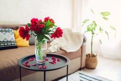 Inre av vardagsrum som dekoreras med blommor, växter och matta Hemtrevlig soffa med kuddar och tabellen royaltyfri fotografi