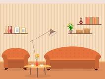 Inre av vardagsrumdesignen i plan stil med möblemang, fåtöljen, soffan, lampan, bokhyllan och blommor på en tabell stock illustrationer