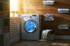 Inre av verklig tvättstuga med tvagningmaskinen på fönstret på royaltyfri bild