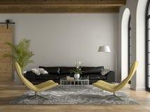 Inre av vinden med den svarta soffan 3D som framför 2 Royaltyfri Foto