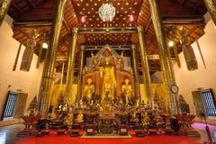 Inre av Wat Chedi Luang, Chiang Mai, Thailand Fotografering för Bildbyråer