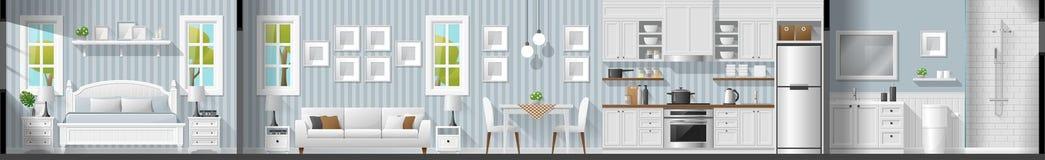 Inre avsnittpanorama för hus inklusive sovrum, vardagsrum, matsal, kök och badrum