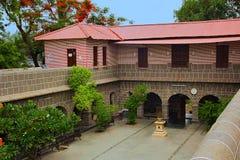Inre, bågar, farstubro, veranda och rum på Vitthal Mandir, Vithalwadi wadi, Prati Pandharpur Arkivfoton