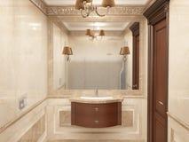 Inre badrummet i klassisk stil Arkivbilder