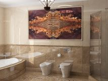 Inre badrummet i klassisk stil Fotografering för Bildbyråer