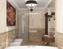 Inre badrummet i klassisk stil Arkivfoton