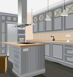Inre bakgrund för kök med möblemang Design av modernt kök symbolmöblemang Kökillustration Royaltyfri Fotografi