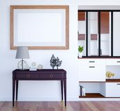 Inre bakgrund för modern lyxig vardagsrum med åtlöje upp den tomma affischramen, tolkning 3D stock illustrationer