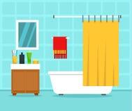 Inre begreppsbakgrund för badrum, lägenhetstil royaltyfri illustrationer