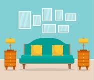 Inre begreppsbakgrund för sovrum, lägenhetstil vektor illustrationer