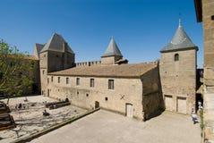 inre byggnadscarcassonne chateau Arkivfoton