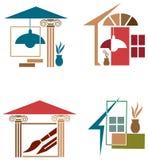 Inre dekorlogouppsättning royaltyfri illustrationer