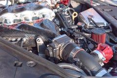 Inre design av närbilden för bilmotor Arkivfoton
