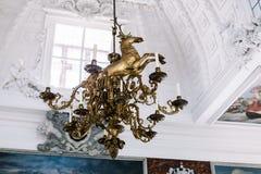 Inre detaljer av den Frederiksborg slotten i Hillerod, Danmark arkivfoto