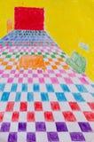 Inre färgrik målning Arkivbild
