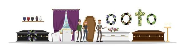 Inre för begravnings- service vektor illustrationer