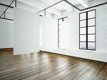 Inre för bildvindexpo i modern byggnad Öppet utrymmestudio Tomt vitt hänga för kanfas Wood golv, tegelstenvägg royaltyfri bild