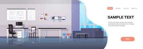 Inre för den inre moderna kliniken för sjukhuset för rum för doktorskontorsarbetsplatsen tömmer den kabineda ingen folkhorisontal vektor illustrationer
