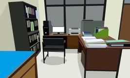 Inre för designen för rumkontorsarbetsplatsen med kabinettet, boken för tabellstol, bokhyllan och väggkräm färgar också vektor fö Arkivbild