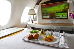 Inre för emiratflygbuss A380 Fotografering för Bildbyråer