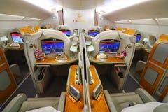 Inre för emiratflygbuss A380 Royaltyfria Bilder