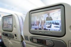Inre för flygplan för emiratflygbuss A380 Fotografering för Bildbyråer
