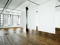 Inre för fotovindexpo i modern byggnad Öppet utrymmestudio Tomt vitt hänga för kanfas Wood golv, tegelstenvägg arkivbild