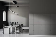 Inre för Gray Industrial stilkontor, skåp Royaltyfri Illustrationer