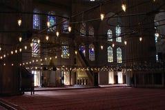 Inre för Istambul blåttmoské Fotografering för Bildbyråer