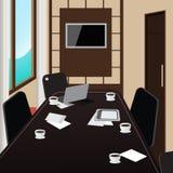 Inre för konferensrum med tabellen, minnestavlan och bärbara datorn stock illustrationer