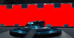 Inre för Llanding remsarymdskepp som isoleras på röd bakgrund 3D Arkivfoto
