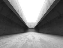 Inre för mörkerbetongrum Industriella lodisar för abstrakt arkitektur Arkivfoto