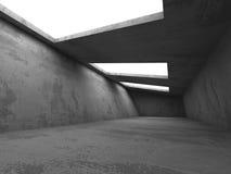 Inre för mörkerbetongrum Industriella lodisar för abstrakt arkitektur Fotografering för Bildbyråer