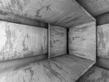 Inre för mörkerbetongrum teckning för blå kompass för arkitekturbakgrund djup över Arkivbild