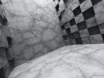 Inre för mörkt rum för konkret kaotisk kubvägg tom Fotografering för Bildbyråer