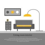 Inre för modern design av vardagsrummet Royaltyfri Bild