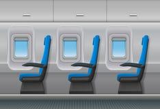 Inre för passagerareflygplanvektor royaltyfri illustrationer