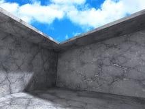 Inre för rum för abstrakt konkret arkitekturkonstruktion tom Arkivfoton